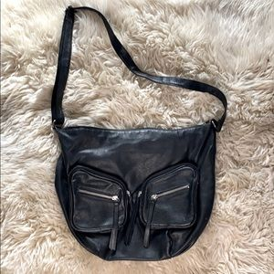 Divided Faux Leather Crossbody Purse